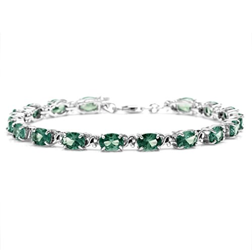 Simulated Color Change Alexandrite 925 Sterling Silver Victorian Style 7.5-9 Inch Adj. Bracelet by Silvershake