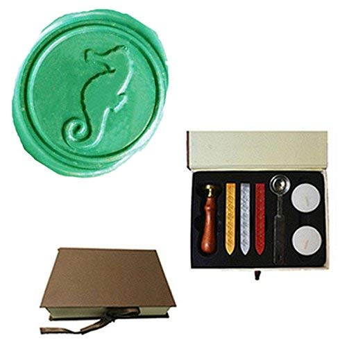 MDLG Vintage Sea Horse Custom Picture Logo Wedding Invitation Wax Seal Sealing Stamp Sticks Spoon Gift Box Set -