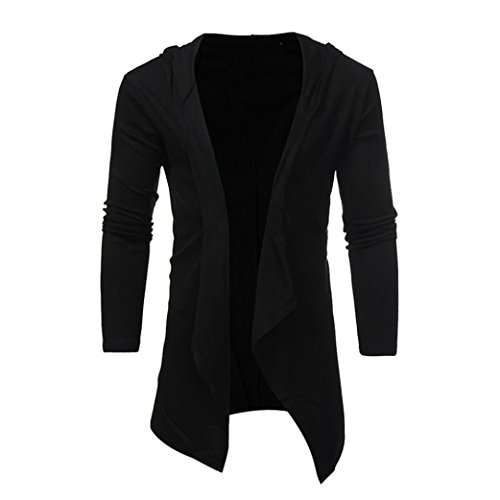 Forthery Mens Slim Fit Long Sleeve Solid Cardigan Sweater Coat (Tag M = US S, Black) - Supreme Beauty Queen Costume