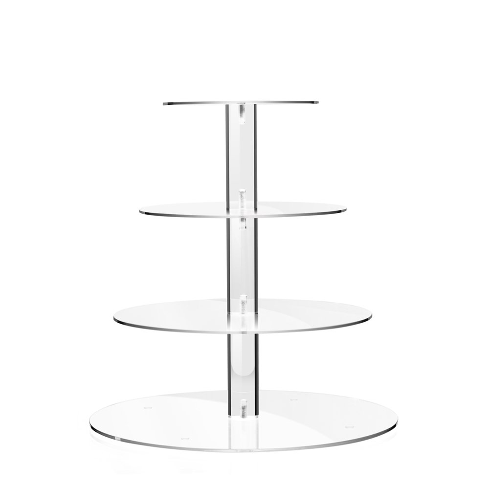 TWING 4 Tier Round Acrylic Cupcake Display Stand,Weeding Party Dessert Stand Tree Tower -Clear Display Holder Tree
