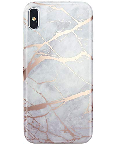 JIAXIUFEN Compatible with iPhone Xs Max Case Shiny Rose Gold Lines Gray Marble Slim Shockproof Flexible Bumper TPU Soft Case Rubber Silicone Cover Phone Case ()