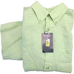 Roundtree & Yorke Margarita Green Linen Button-down Collar S/S Shirt Medium