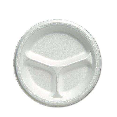 Genpak 83900 8-7/8-Inch White 3 Compartment Celebrity Foam Dinnerware Plate 125-Pack (Case of 4) by Genpak