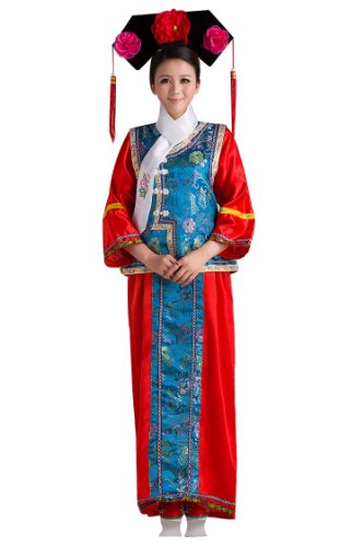 Chinese Dress Costumes (Bysun chinese GEGE Princess stage costume Oriental ted Bottoming-shirt&Blue WaistcoatFS)