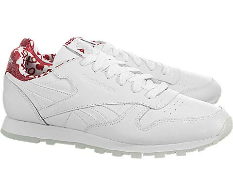 Reebok Unisex Cl Leather Hearts Cross Trainer White/Power red 4.5 M US Big Kid