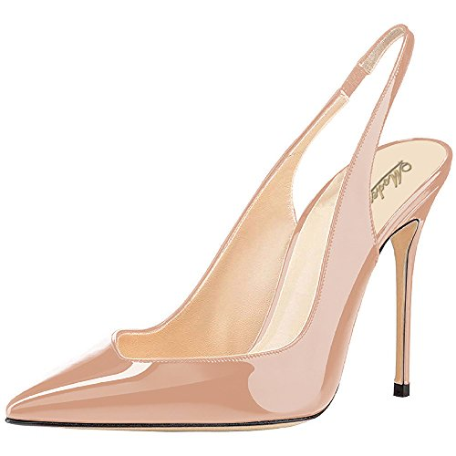 Point Slingback - Modemoven Women's Beige Patent Leather Pumps,Point Toe Heels,Slingback Pumps,Evening Shoes,Cute Stilettos - 7 M US
