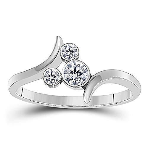 - Round Cut CZ Diamond April Birthstone Bypass Mickey Mouse Ring in 925 Sterling Silver (8)