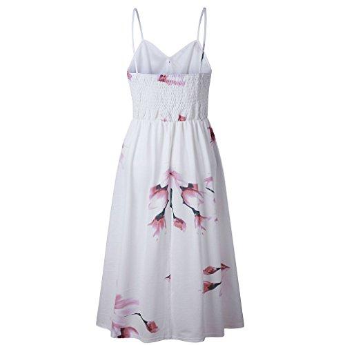 Las Becerro Vestido Vacaciones poliéster de Providethebest Mediodía Flor Mujeres Botón 3XL Impresa de Vestido Longitudblanco Florales YSxPpf
