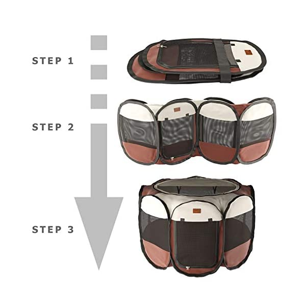 Home Intuition Portable Foldable Pet Playpen Exercise Kennel for Dogs and Cats with Removable Sun Shade, Small Click on image for further info. 5