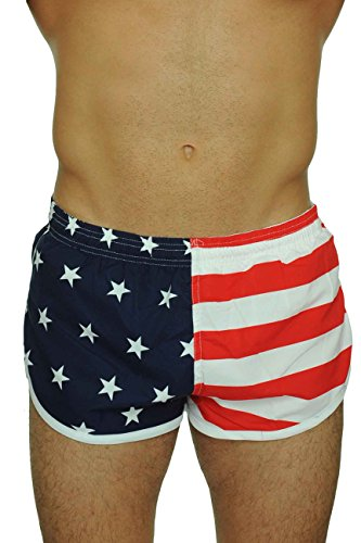 Men's American Flag and Nylon Swimwear Running Shorts S