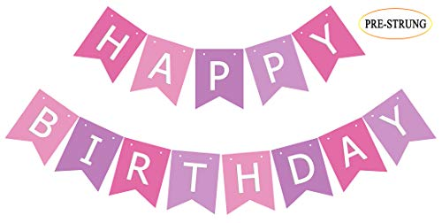 (Pre Strung Pink Purple Birthday Banner, Happy Bday Party Bunting Sign Decoration for Girl Women)