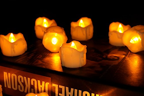 Halooween Decorations (Micandle 12PCS Wax Dripped Flickering Flameless Fake Amber LED Tealight Candles,Battery Oparetion,With 2 keys Remote control for On/Off;Lasting 72+Hrs,For Wedding,Halooween,Home Decor-1.3''D x 1.45''H)