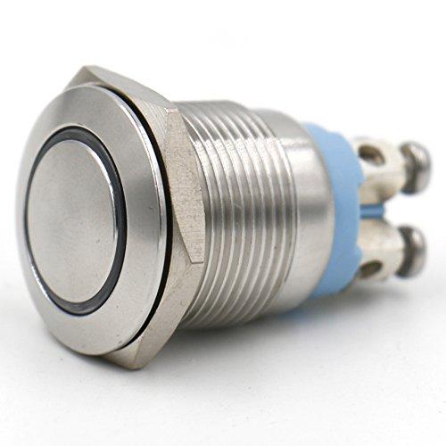 Heschen 19/mm 3//10,2/cm en m/étal momentan/é Push Button Switch 220/VAC Eagle Eye LED Blanc 5/A 250/VAC 4/vis IP67