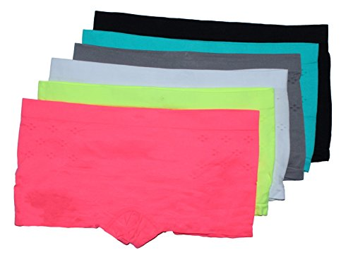 GILBIN'S Women Love Heart Print Sexy Seamless Stretch Boy Shorts Panties Various Styles (Pack of 6)Laser Cut