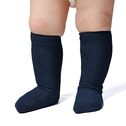 Epeius Unisex-Baby 3 Pair Pack Seamless Cable Knit Knee High Socks Toddler Boys/Girls Uniform Stockings for 12-24 Months,Navy Blue from EPEIUS