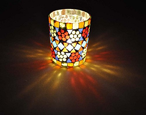 Mosaic Glass Candle Holder Room Decor 3 X 4 (Stained Glass Christmas Candles)