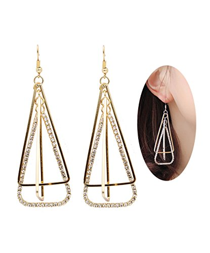 Rose Gold Three-Dimensional Triangle Style Diamond Mounted Dangle Earring | Dating&Party Jewelry - Date Flowers Earrings