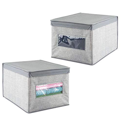 - mDesign Soft Fabric Stackable Closet Storage Organizer Holder Box Bin with Clear Window, Attached Hinged Lid - Bedroom, Hallway, Entryway, Closet, Bathroom - Textured Print, Large, 2 Pack - Gray