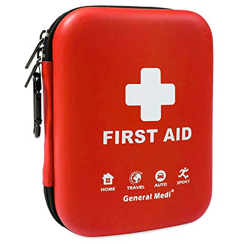 - First Aid Kit - 170 Pieces Hard Case and Lightweight - Includes 2 x Eyewash,Instant Cold Pack,Emergency Blanket, CPR Face Mask for Travel, Home, Office, Vehicle, Camping, Workplace & Outdoor (Red)
