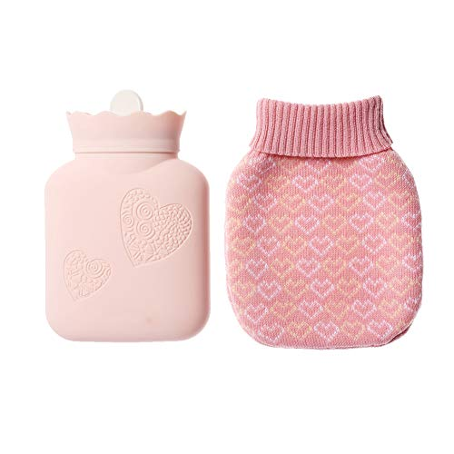 Hot Water Bottle, Xboun Heating Bottle Environmental Silicone Hot Water Bag with Knit Cover-Great for Pain Relief, Hot & Cold Therapy-Gift for Girls Babys, Christmas, Gift Exchange Pary (Small, Pink)