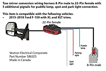 amazon com: tow mirrors conversion retrofit wiring harness compatible with ford  f-150 - 8 pin to 22 pin - for f150 trucks 2015, 2016, 2017 - adapter  pigtail