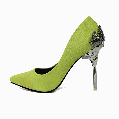 Green Boda Novia Estados De Zapatos 38 Y Alto Unidos Zapatos Señalaron La 37 Tacón Hueco Highxe Europa Sandalias Gamuza Metal Los PFHztq