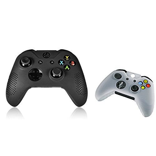 Insten 2 packs of Skin SilicOne Case: Black / White Compatible With Microsoft Xbox One / Xbox One S Controller (Glow Racing Wheel)