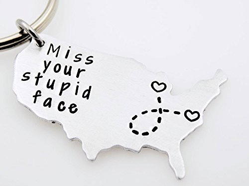 Long distance Brother, Long distance boyfriend, Miss your stupid face, Long distance gift for her or him Custom USA Map keychain LDRSHIP ldr worth every mile going away gift Handstamped Keychain