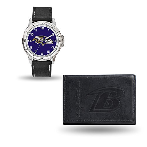Nfl Watch Sport Mens (Rico NFL Men's Watch and Wallet Set WTWAWA0701, Baltimore Ravens)