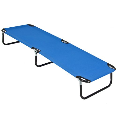 Best Choice Products 74in Portable Folding Camping Cot Guest Bed w/Steel Frame - Blue by Best Choice Products