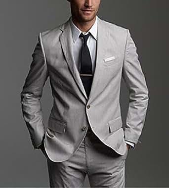 Michealboy Men Classic Fit Suit Blazer Jacket Tux Vest & Flat Pants Set Wedding Formal