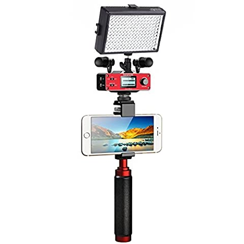 Saramonic Ultimate Smartphone Video Kit with Dual Stereo Microphones, Audio Mixer, LED Light and Stabilizing Rig for Apple iPhone 5, 5C, 5S, 6, 6S, 7 (Regular and Plus), Samsung Galaxy, Note and (Ultimate Android Smartphone)
