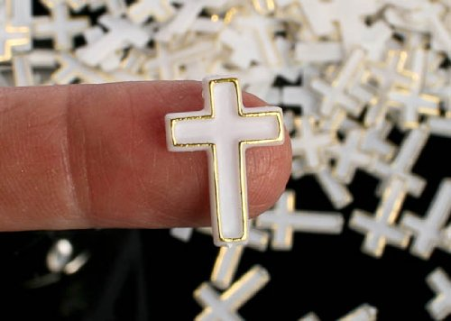 Package of 432 Tiny Plastic White Crosses with Gold Metallic Trim (1/2