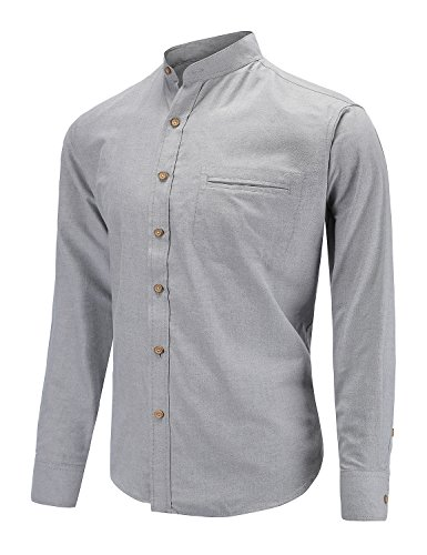 Dioufond Men's Long Sleeve Banded Collar Oxford Dress Shirt with Pocket (S, Gray)