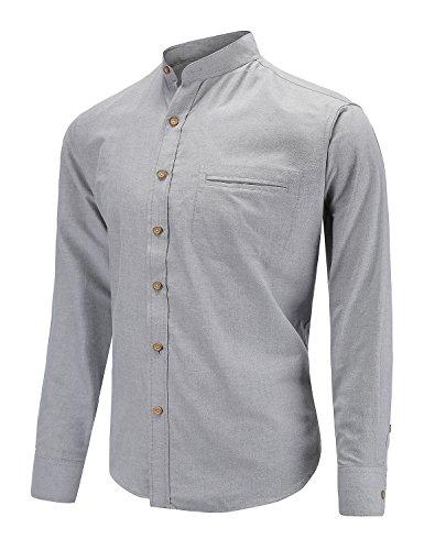 Open Collar Shirt - Dioufond Men's Long Sleeve Banded Collar Oxford Dress Shirt with Pocket (S, Gray)