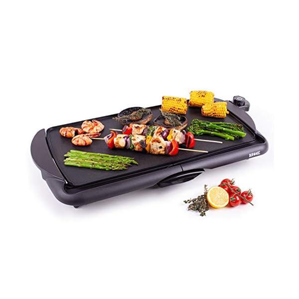Duronic GP20 Piastra elettrica da tavolo anti aderente 2000W Piastra per teppanyaki superficie grill da 52 x 27 cm con… 1
