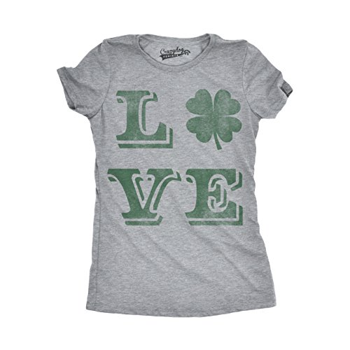 Crazy Dog T-Shirts Womens Love Lucky Clover Vintage Cute Irish St Patricks  Day T