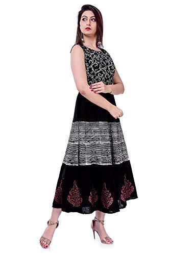 Monique Present One Piece Dress for Girl's/Women's Pure Cotton Black and White Color (monimdi-liningred buta-bpbw12_Free Size_)