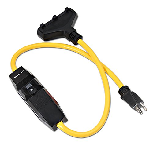 Milspec Direct 3-Foot 12/3 Gauge Shockshield GFCI Protected In-line Tri-Cord Set with 3-Outlets, 15-Amp, Yellow