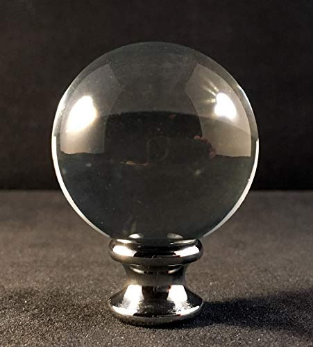Lamp Finial-Large Crystal ORB Polished Chrome Base