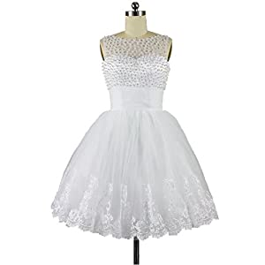 360003fe530 CharmingBridal Ball Gown Homecoming White Wedding Party Dress Short Prom  Dress