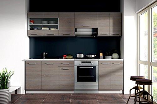 Küche dave 240 cm küchenzeile küchenblock variabel stellbar in eiche sonoma trüffel amazon de küche haushalt