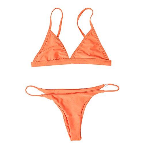 Flypv 2 Piezas Bikini Triángulo Top brasileño Bañador de Venda Traje de Baño Triangular sin Aro de Color Sólido 12 Colores Naranja
