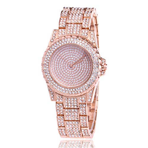 (Gypsophila Rhinestone Diamond Watch with Straight High Fashion Lady Quartz Watch (Pink))