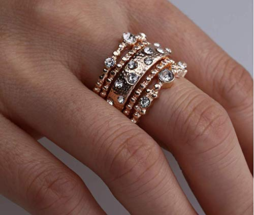 aiyuyu Fashion Rose Gold Wedding Bands Wedding Rings for Women Anniversary Eternity Bands 5PCS Stackable Rings CZ Engagement Bridal Milgrain Ring Sets Size 6-10 (6#)