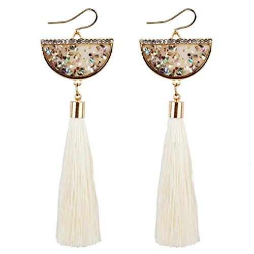 Tassel Earrings, Muranba Bohemian Statement Thread Tassel Chandelier Drop Dangle Earrings (White 2)