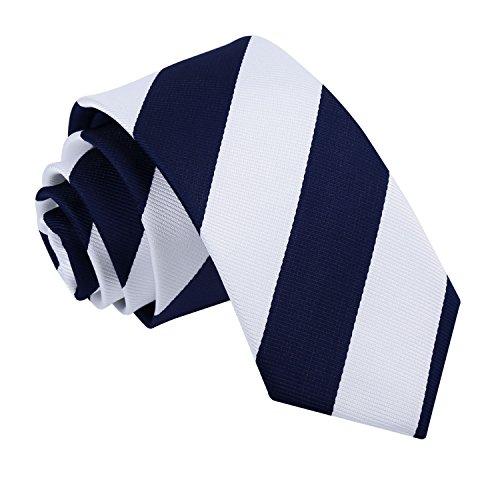 White Men's Striped Neck DQT Slim Business Fashion Tie Casual Navy zHUUwdq5Pn