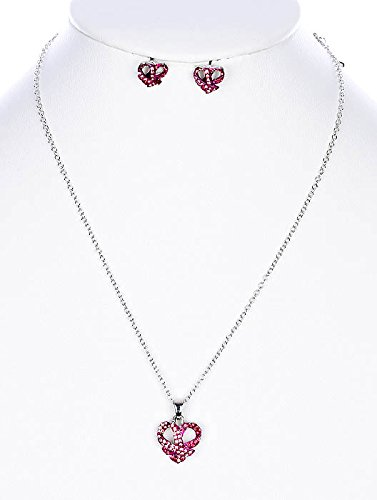 Pink metal heart pendant breast cancer awareness necklace and earring set Fashion Jewelry FancyCharm