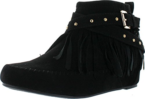 Bella Marie Campus-25 Women's Shiny Studded Criss Cross Side Zip Fringe Booties,Black,7