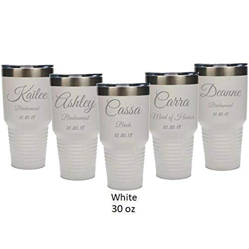 Bridesmaid 30 ounce Tumbler in Sets of 4 to 12 made of Stainless Steel Custom Engraved with a Clear Lid including Choices of Color, Straw, Thank You Message and Spill Proof Slide Lid by aGoGo Creative (Image #2)